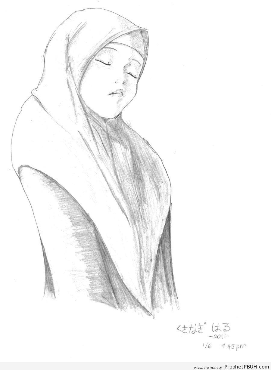 Muslim Girl Pencil Drawing - Drawings