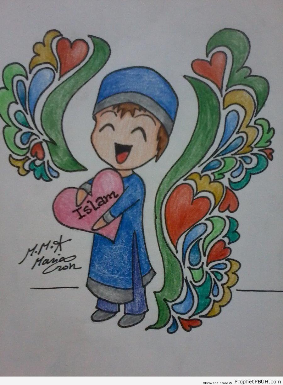 Muslim Little Boy Holding Islam To Heart - -I Love Islam- Posters