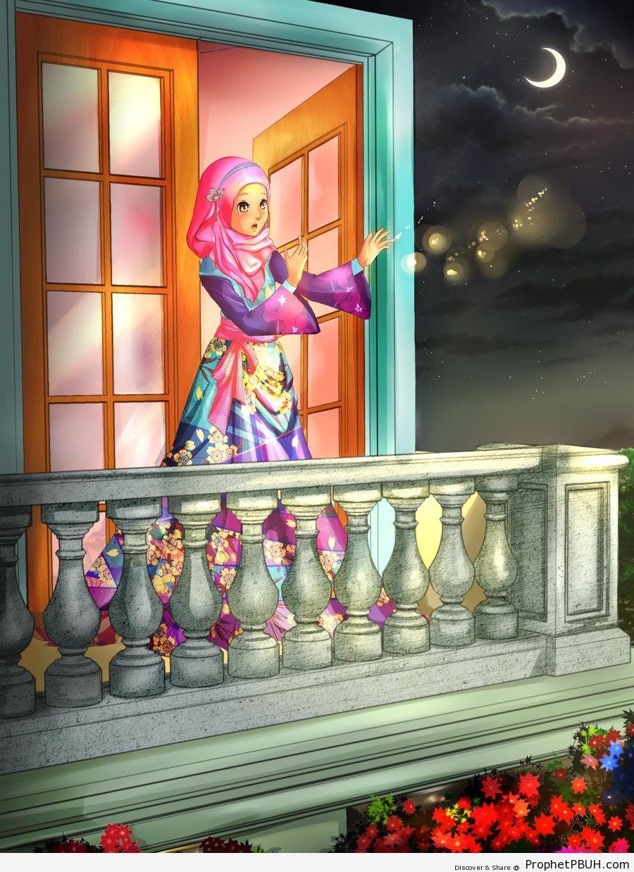 Muslim Princess at Balcony (Drawing) - Drawings