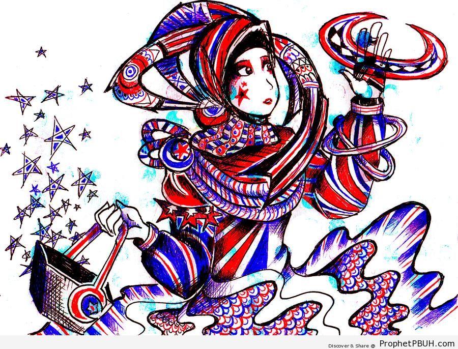 Muslimah Among the Stars - Drawings