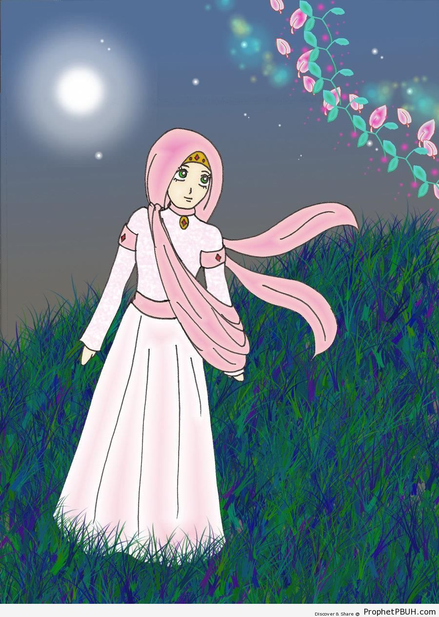 Muslimah Out in the Moonlight - Drawings