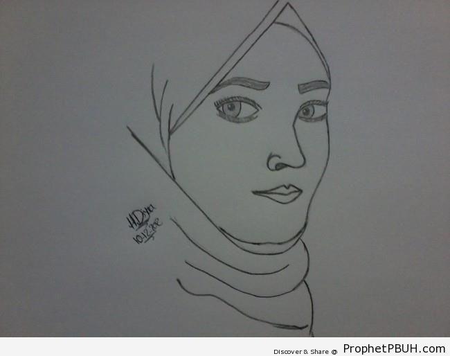Muslimah Pencil Drawing - Drawings
