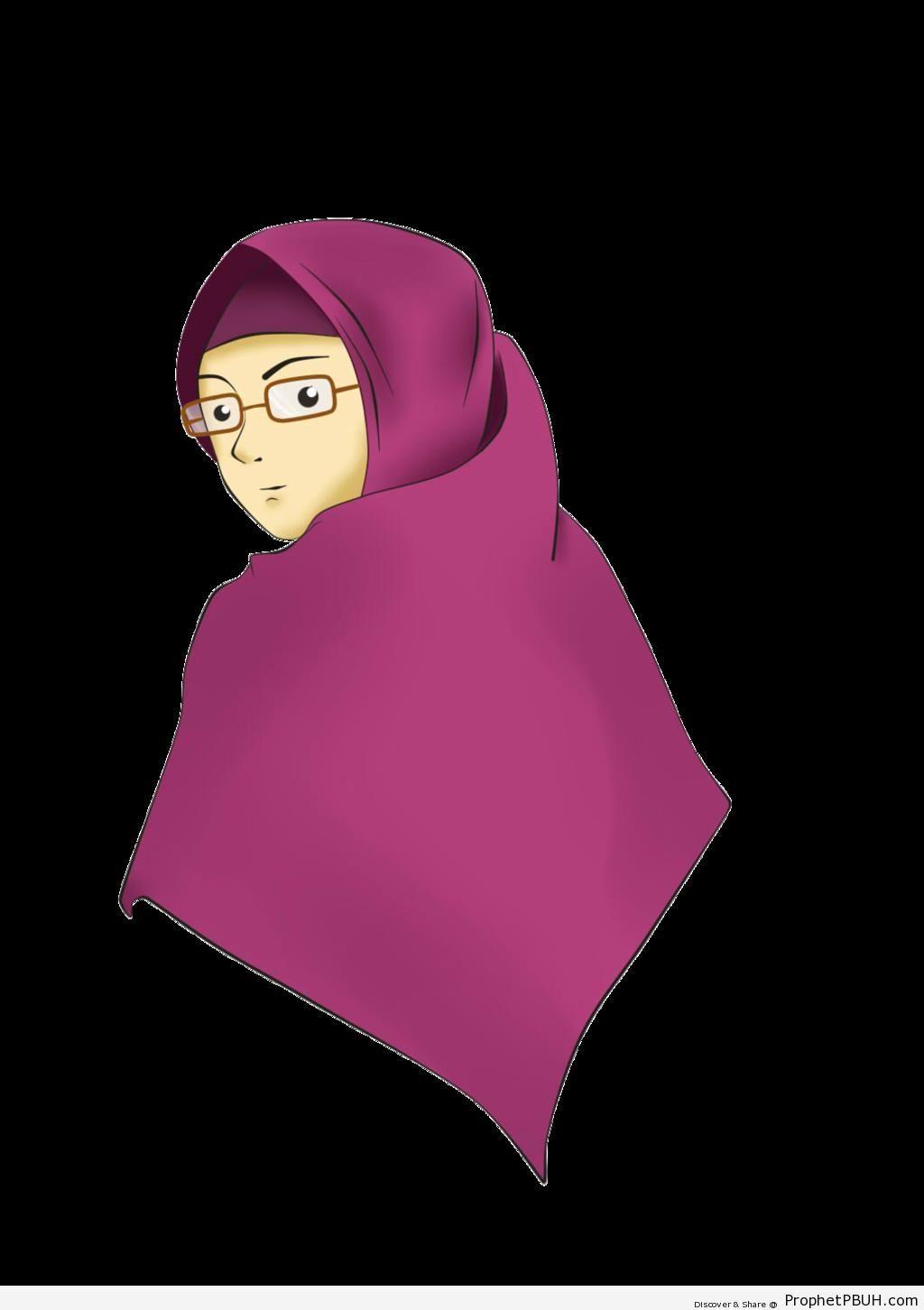 Muslimah Wearing Purple Hijab and Glasses - Drawings