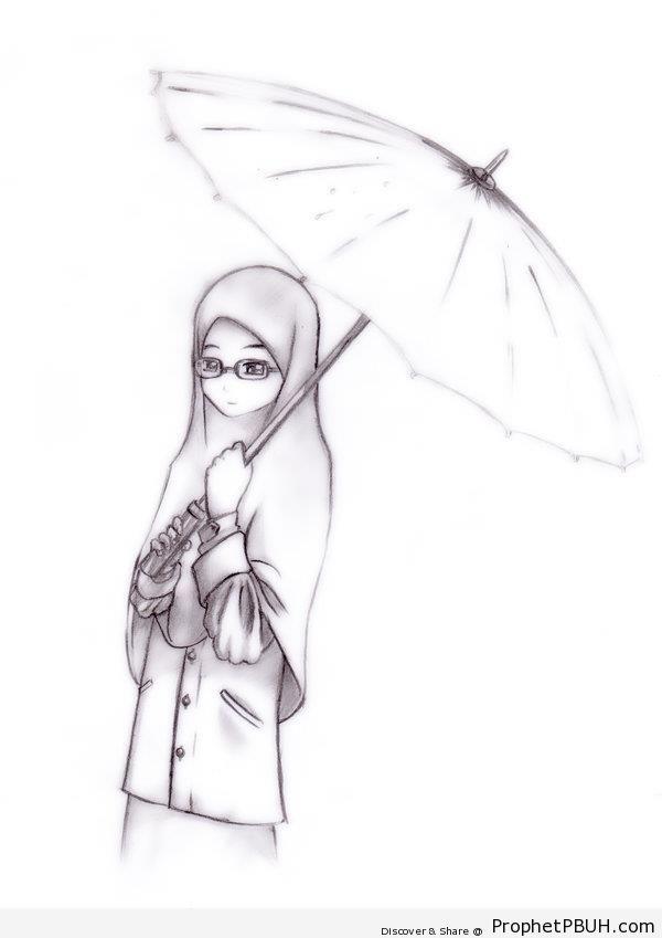 Muslimah With Umbrella - Drawings