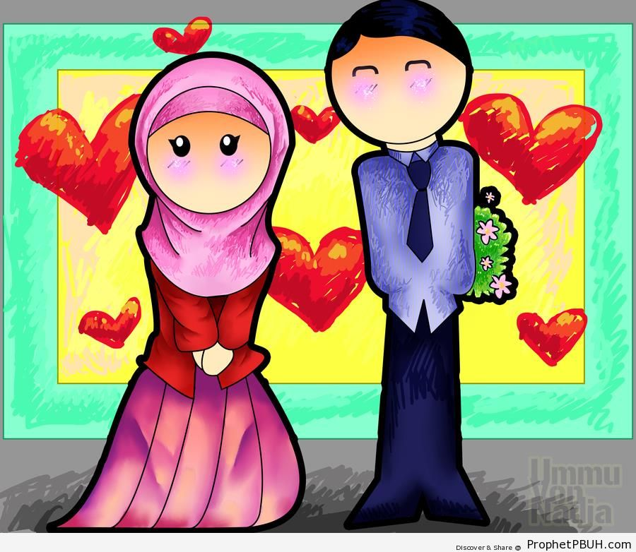 Muslims in Love (Muslim Husband and Wife Couple Drawing) - Drawings