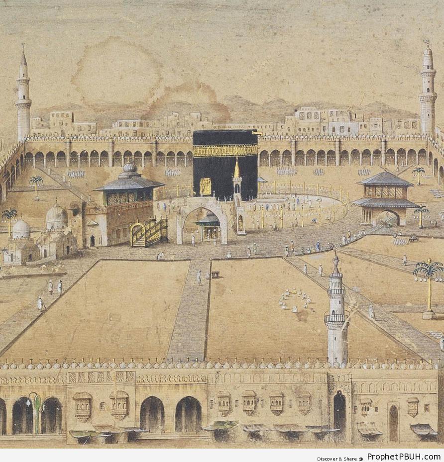 Old Drawing of Masjid al-Haram (Makkah, Saudi Arabia) - al-Masjid al-Haram in Makkah, Saudi Arabia -Picture