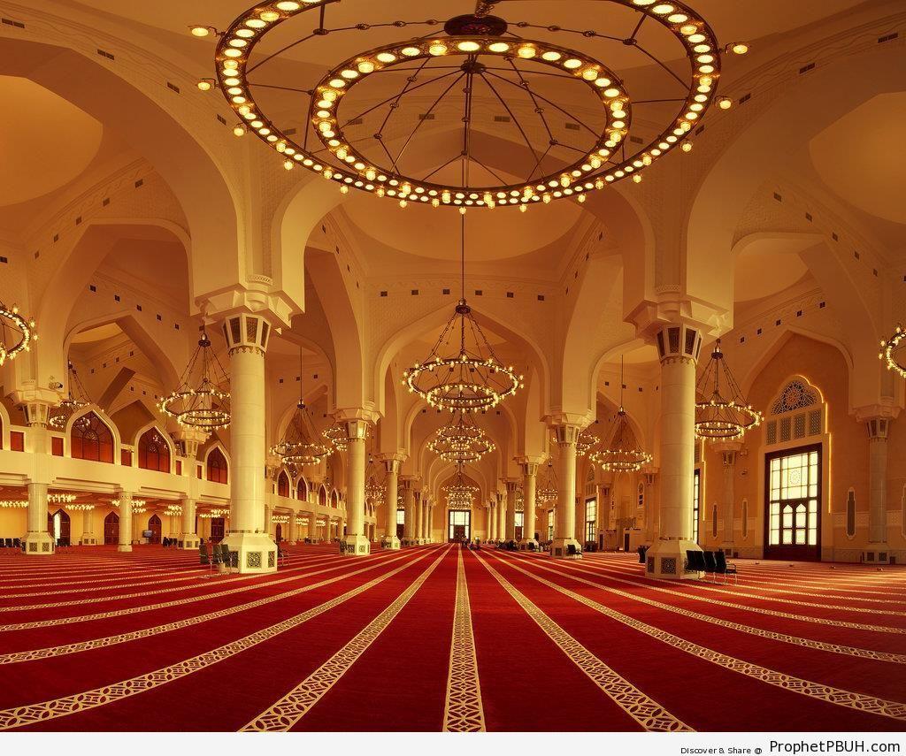 Panorama, Inside Qatar State Mosque - Doha, Qatar -Picture