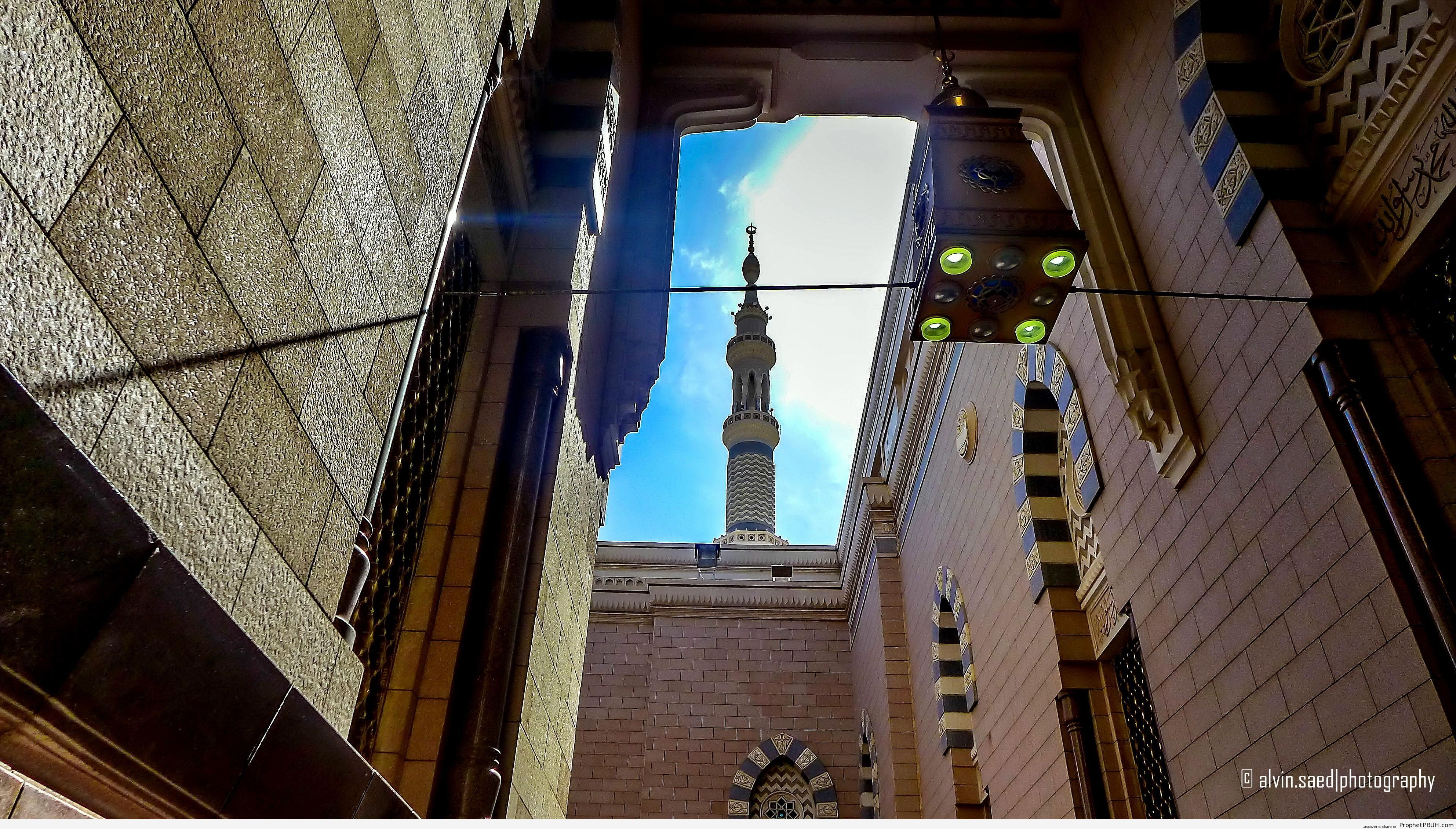 Peaceful Alley by the Gate of Abu Dhar (Inside Mosque of the Prophet in Madinah) - Al-Masjid an-Nabawi (The Prophets Mosque) in Madinah, Saudi Arabia