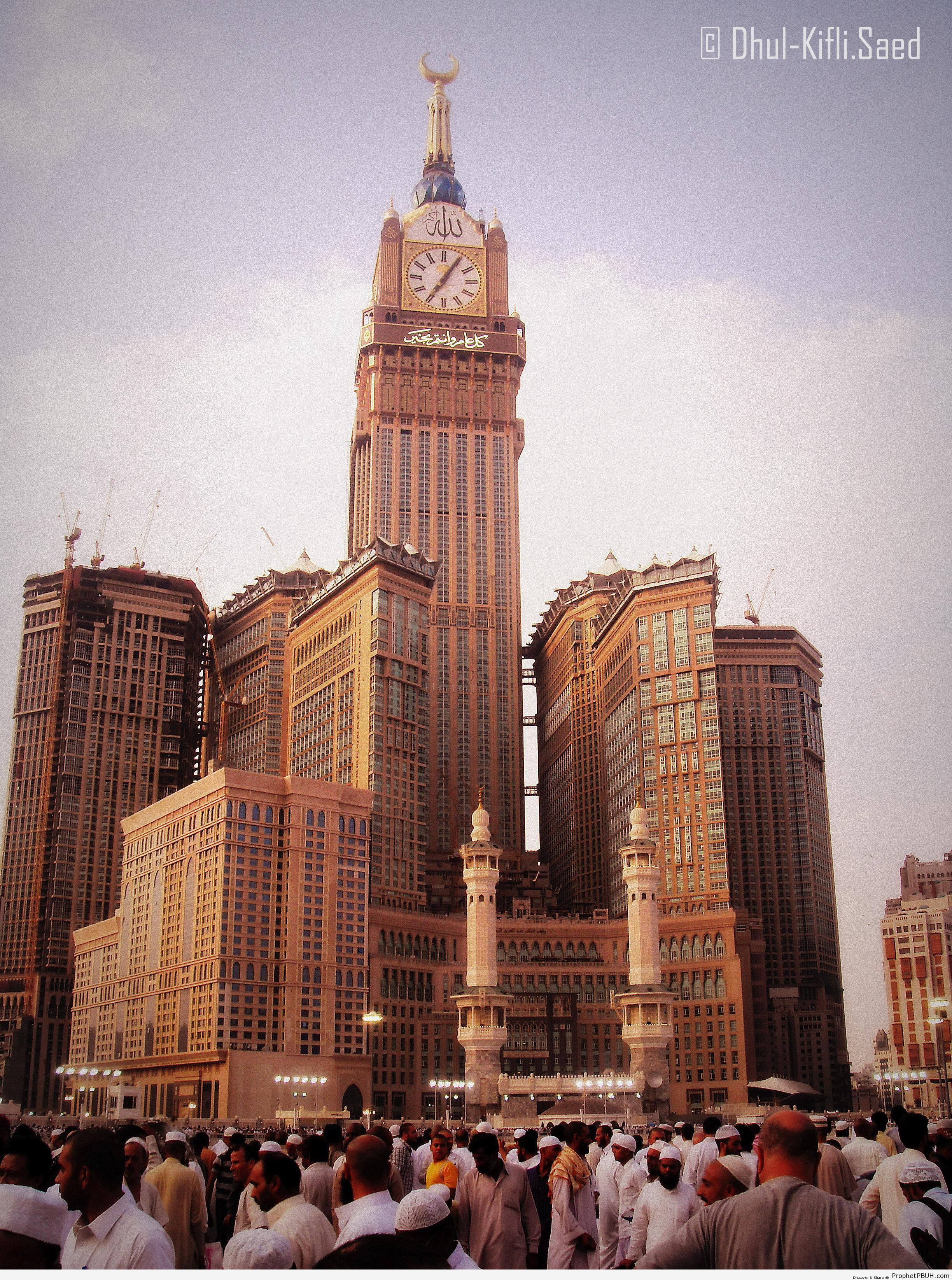 Photo of Crowded Masjid al-Haram Entrance With View of Abraj al-Bait Towers - al-Masjid al-Haram in Makkah, Saudi Arabia -Picture