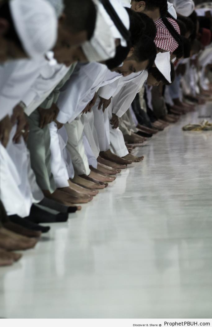 Photo of Praying Muslim Men at Ruku` - Photos of Male Muslims -