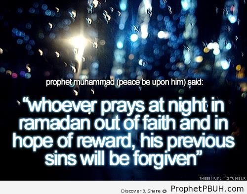 Prophet Muhammad ï·º on Praying at Night in Ramadan - Islamic Quotes About Allah's Forgiveness