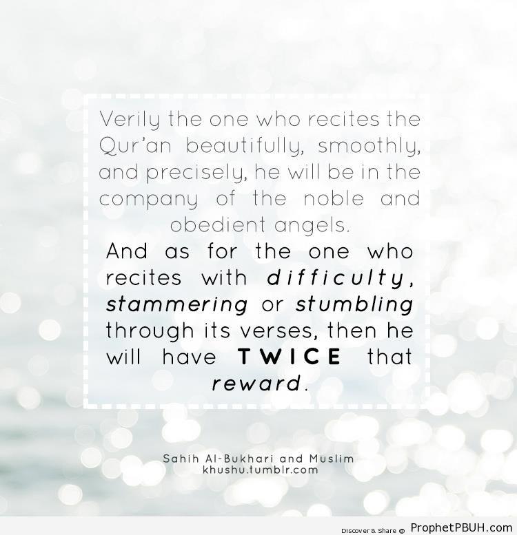 Prophet Muhammad Quote on Reading Quran - Hadith