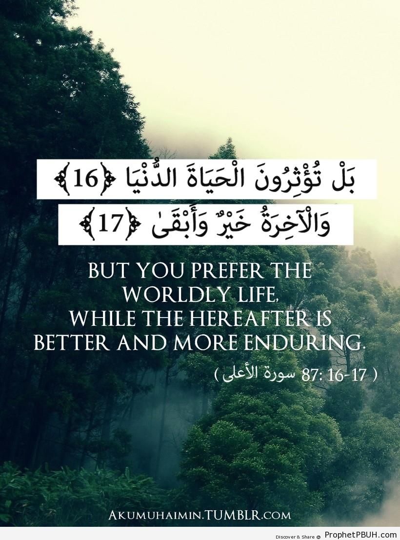 Quran- But you prefer the worldly life& - Islamic Quotes