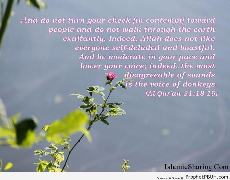 Quran Chapter 31 Verse 18 19