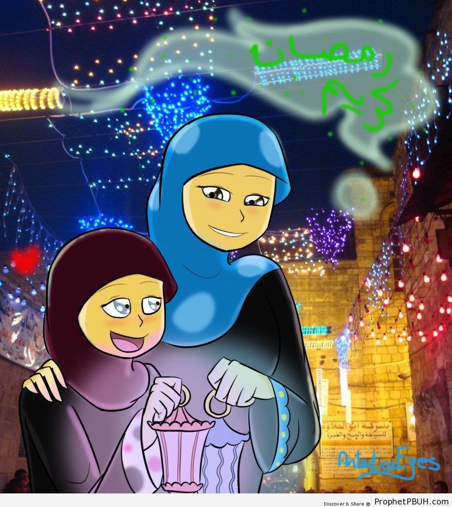 Ramadan Kareem Poster With Drawing of Two Muslim Women - Drawings