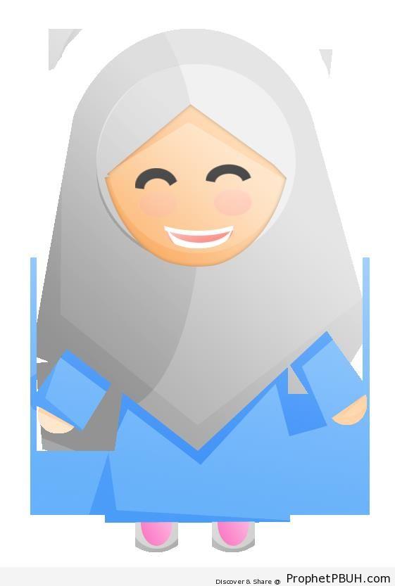 Simple Hijabi Muslim Lady Illustration-Icon -