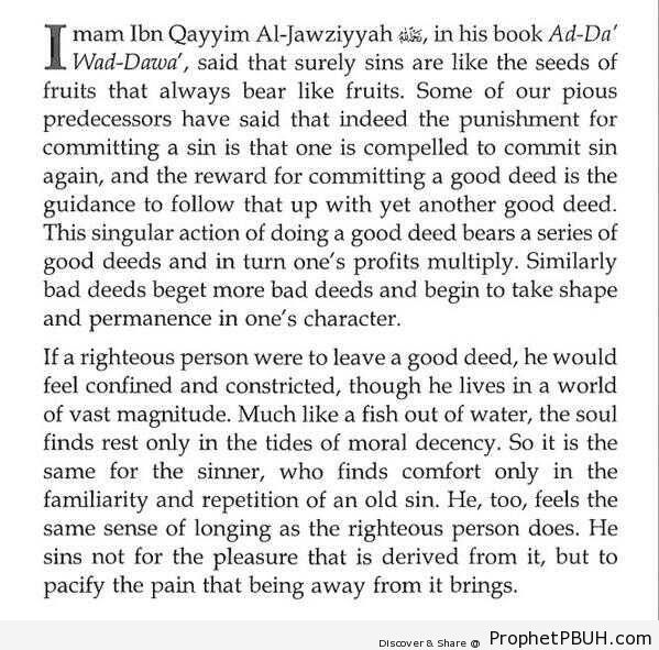 Sins and Good Deeds (Ibn al-Qayyim Quote) - Islamic Quotes