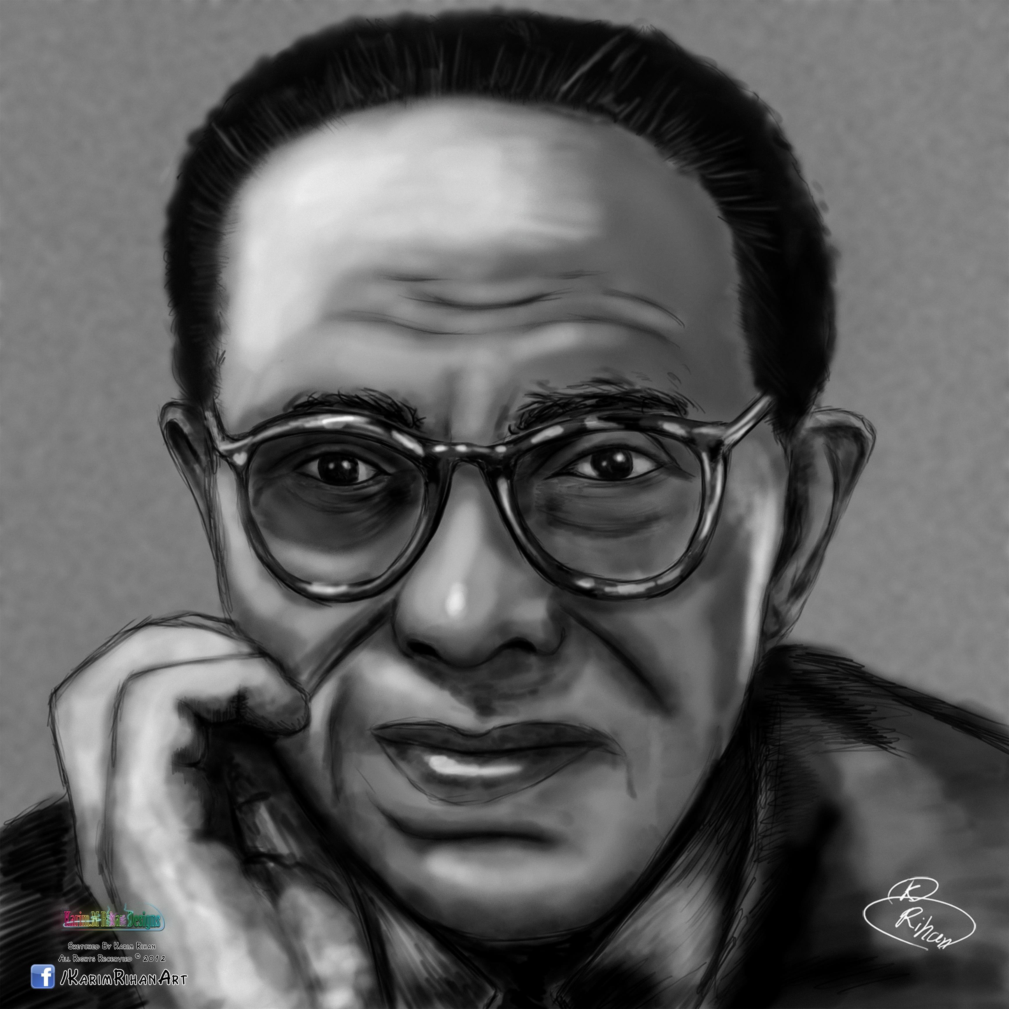 Sketch of Dr. Mustafa Mahmud (Egyptian Muslim Intellectual) - Drawings
