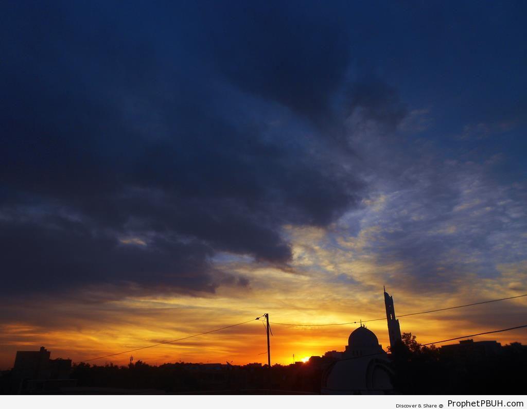 Sunrise and Mosque - Islamic Architecture -Picture