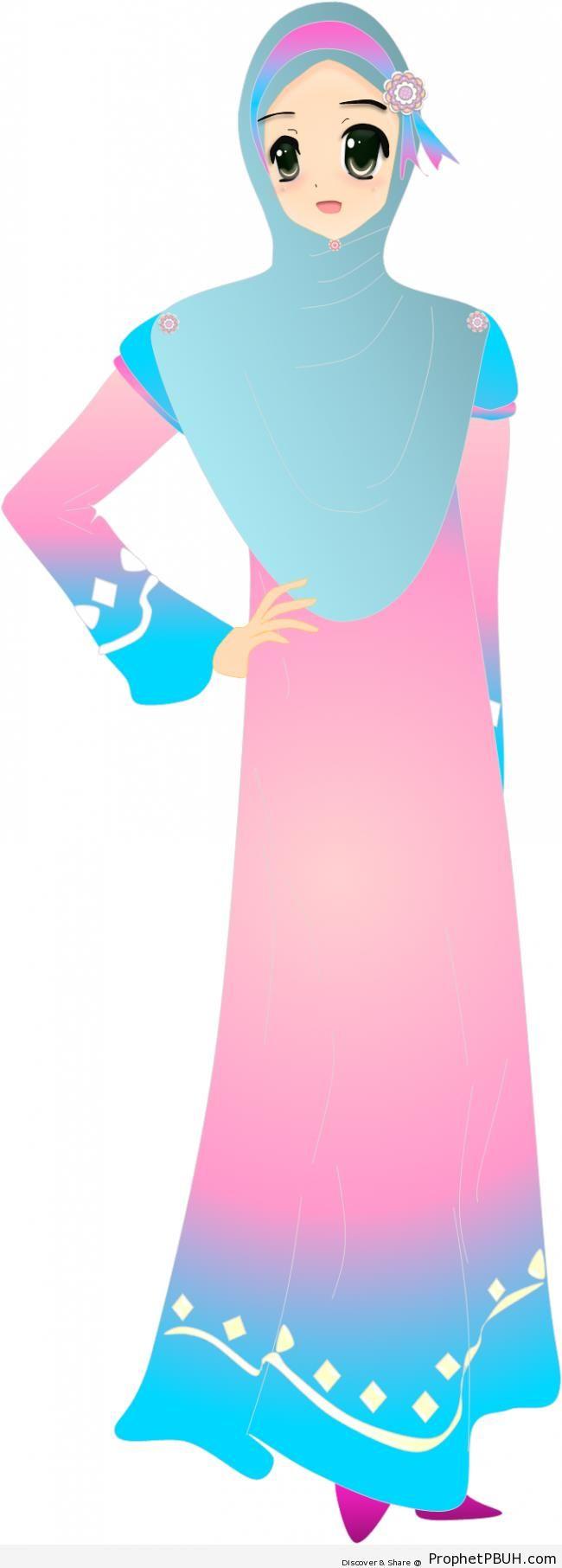 Tall Hijabi Woman in Blue and Pink Hijabi - Drawings