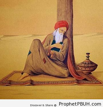 The Best Provision (Old Man Rests in Desert With Book of Quran) - Artist- S. A. Noory