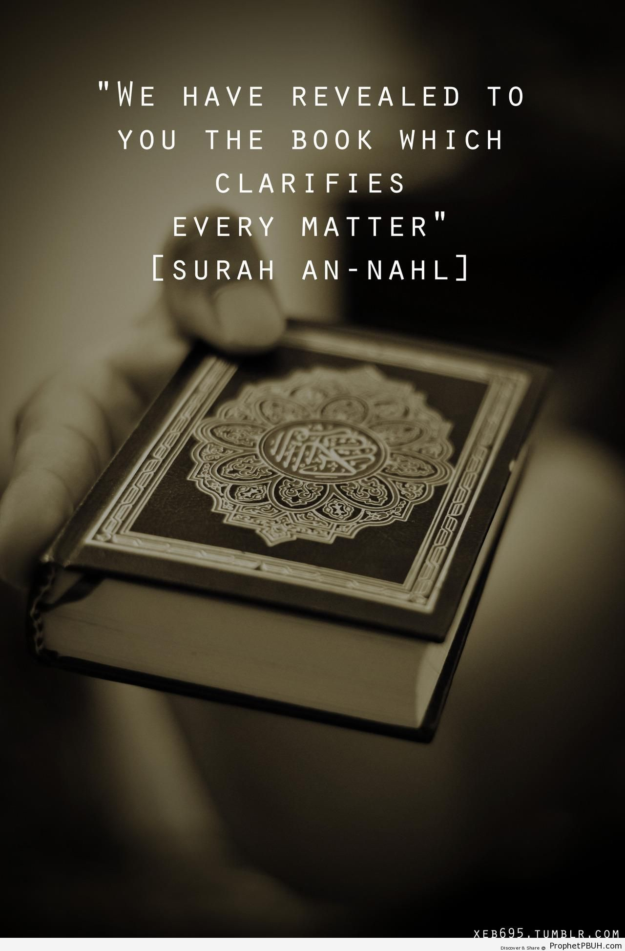 The Book Which Clarifies Every Matter [Quran 16-89; Surat an-Nahl with Mushaf in the Background] - Mushaf Photos (Books of Quran)