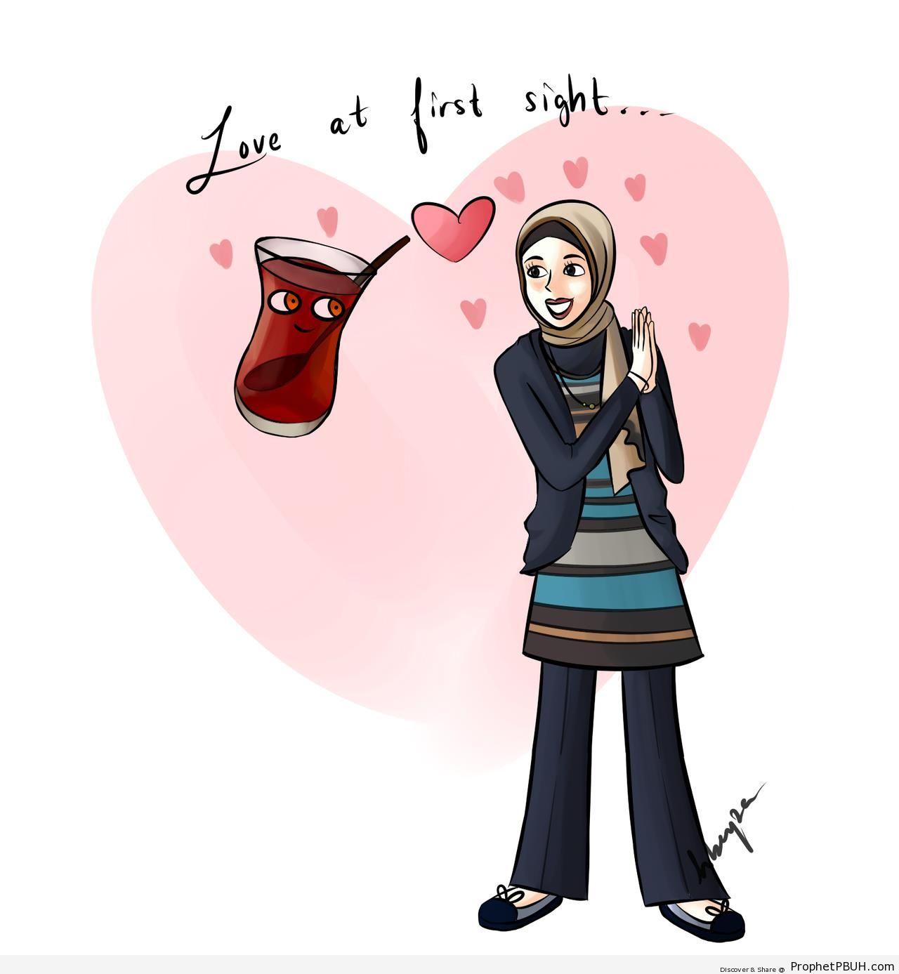 The Love of Tea (Muslim Woman Drawing) - Drawings