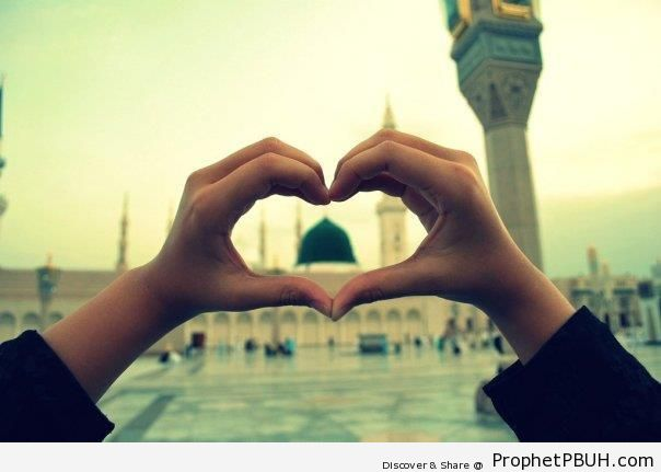 The Prophet-s Mosque Through Heart Hand Gesture - Al-Masjid an-Nabawi (The Prophets Mosque) in Madinah, Saudi Arabia