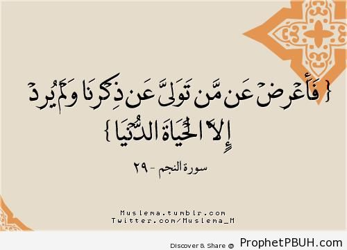Therefore withdraw from him who turns away& - Quran 53-29