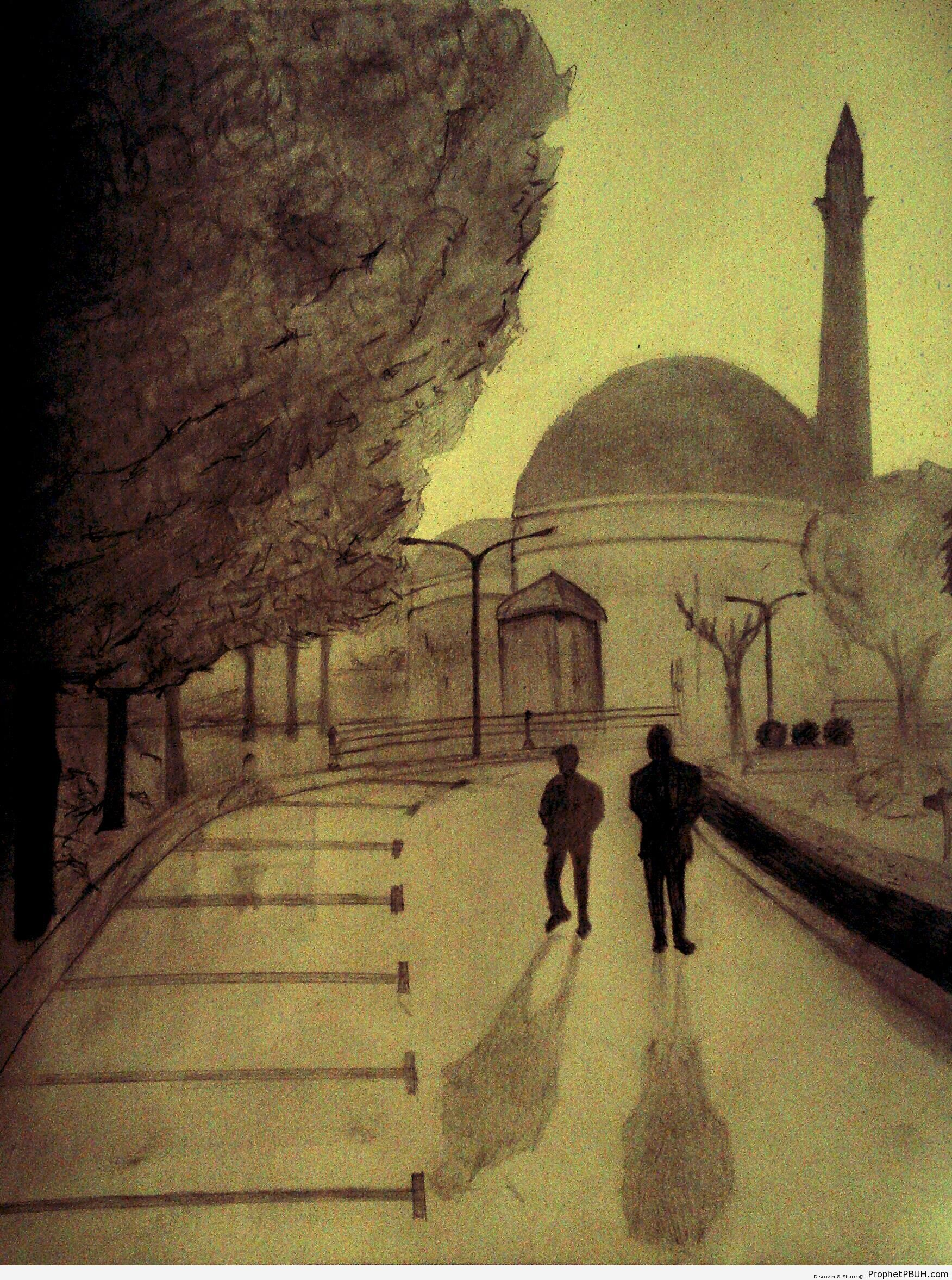 Walking to the Mosque - Drawings