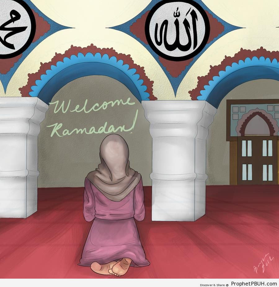 Welcome Ramadan Greeting With Drawing of Muslimah Woman Praying at Mosque - Allah Calligraphy and Typography