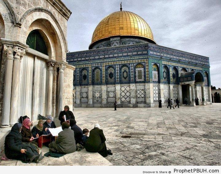 Women Studying Quran by the Dome of the Rock (al-Quds, Palestine) - Al-Quds (Jerusalem), Palestine