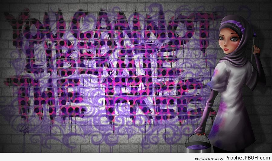 You Cannot Liberate The Free (Graffiti & Hijabi Muslimah Drawing) - Drawings
