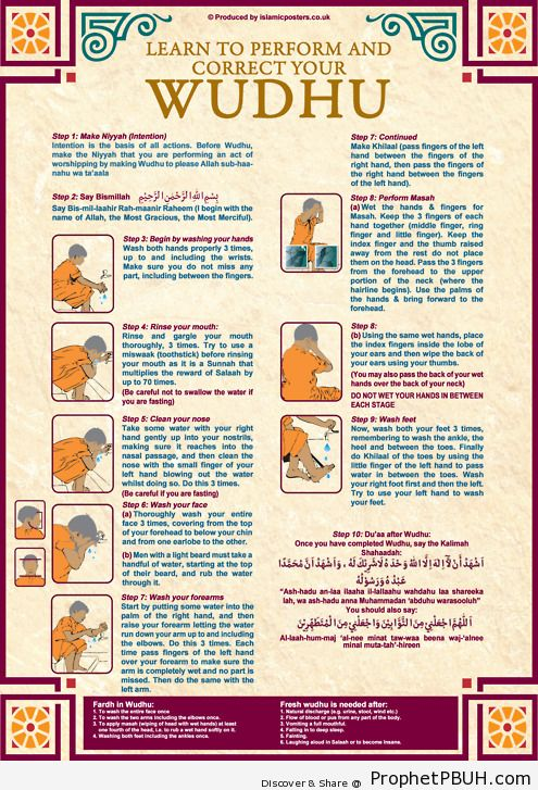 How to perform wudhu (ablution) correctly. - Islamic Quotes, Hadiths, Duas