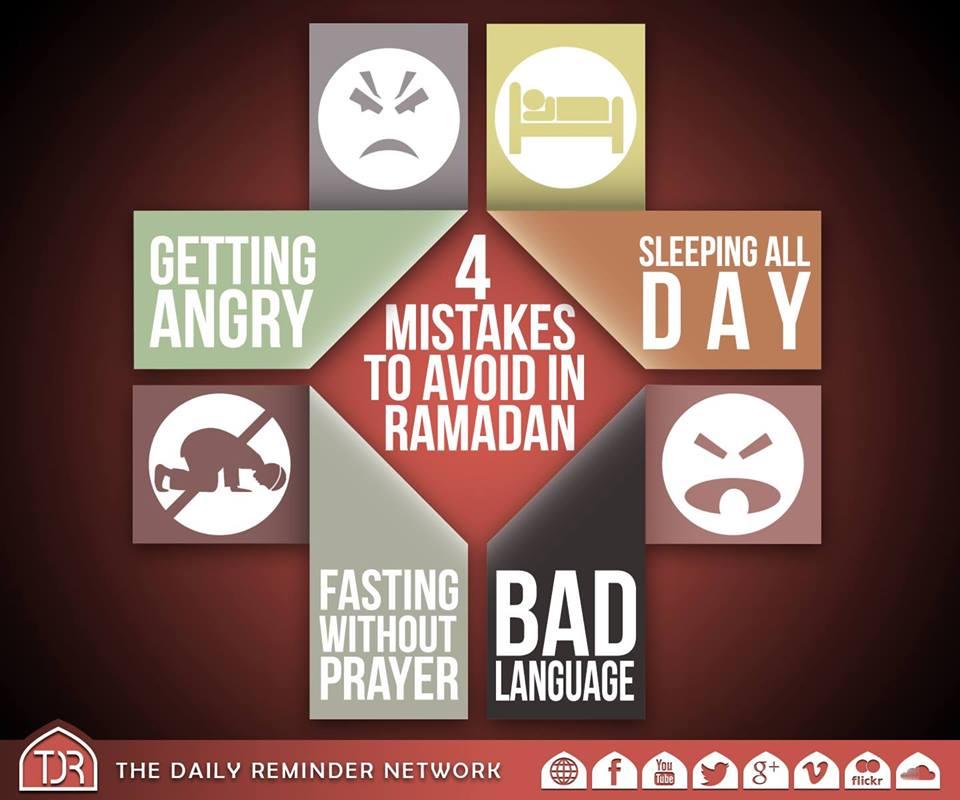 4 Mistakes to avoid during Ramadan