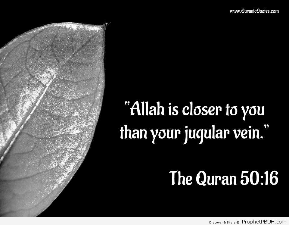 "The Quran 50_16 Surah Qaf ""Allah is closer to you than your jugular vein"