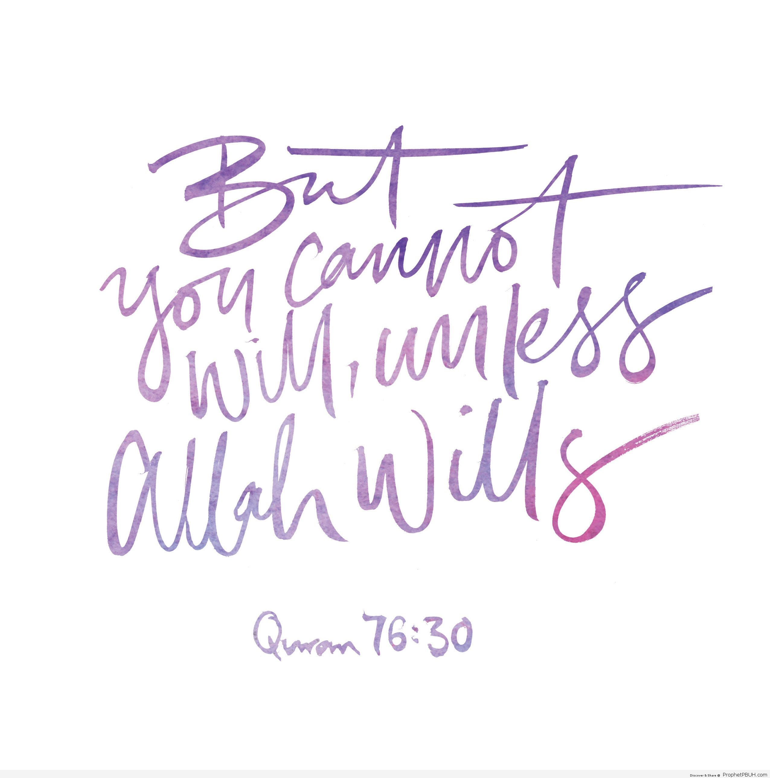 Unless Allah SWT wills